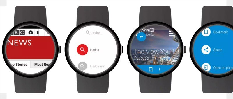 Screenshot of the internet on Smartwatches