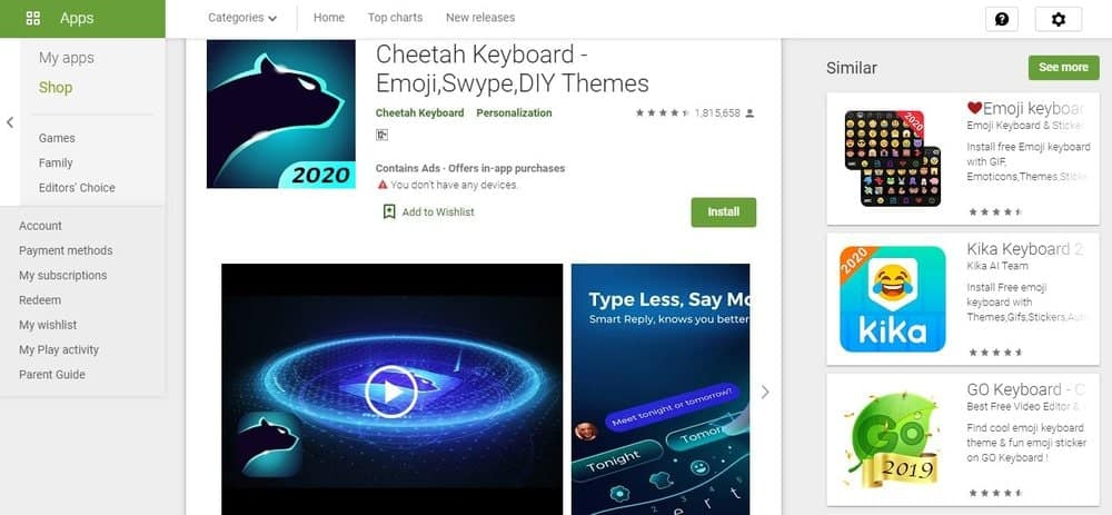 Screenshot of the Cheetah Keyboard App Homepage