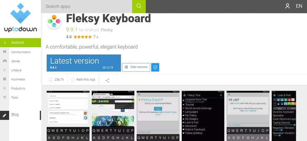 Screenshot of the Fleksy Keyboard App Homepage