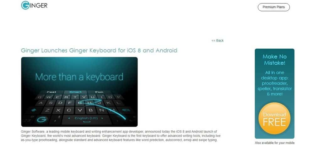 Screenshot of the Ginger Keyboard App Homepage