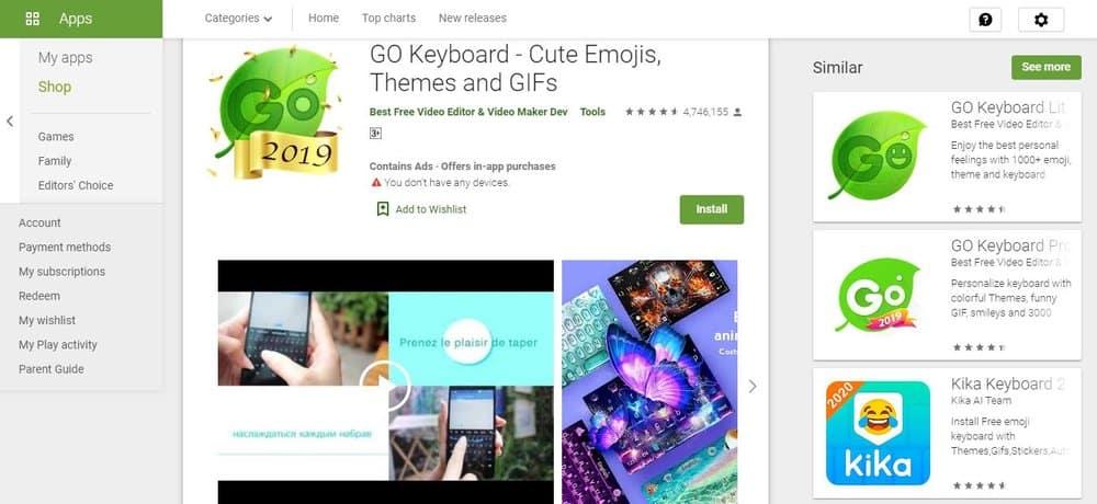 Screenshot of Go Keyboard App Homepage