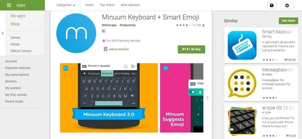 Screenshot of the Minuum Keyboard App