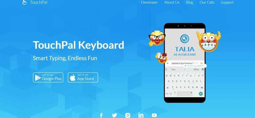 Screenshot of TouchPal Keyboard App Homepage
