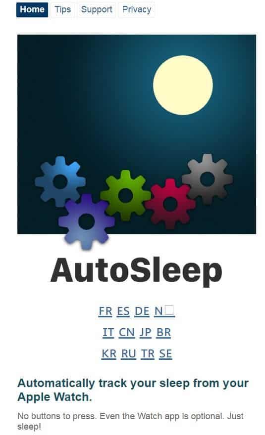 Screenshot of AutoSleep app homepage.
