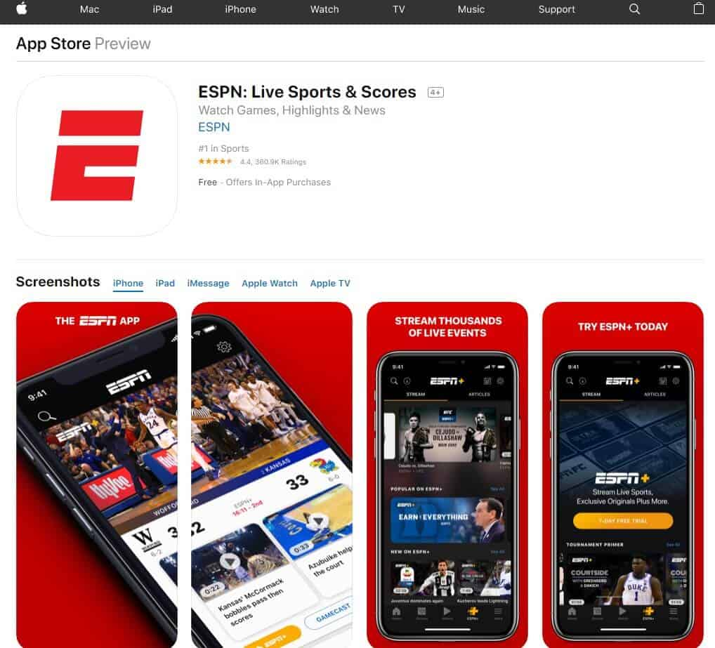 Screenshot of ESPN app homepage.