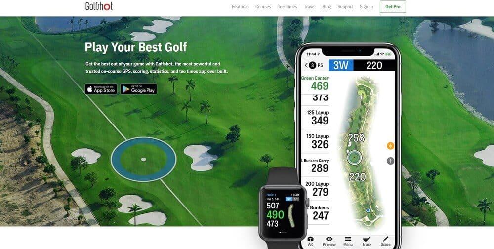 Screenshot of Golfshot app homepage.