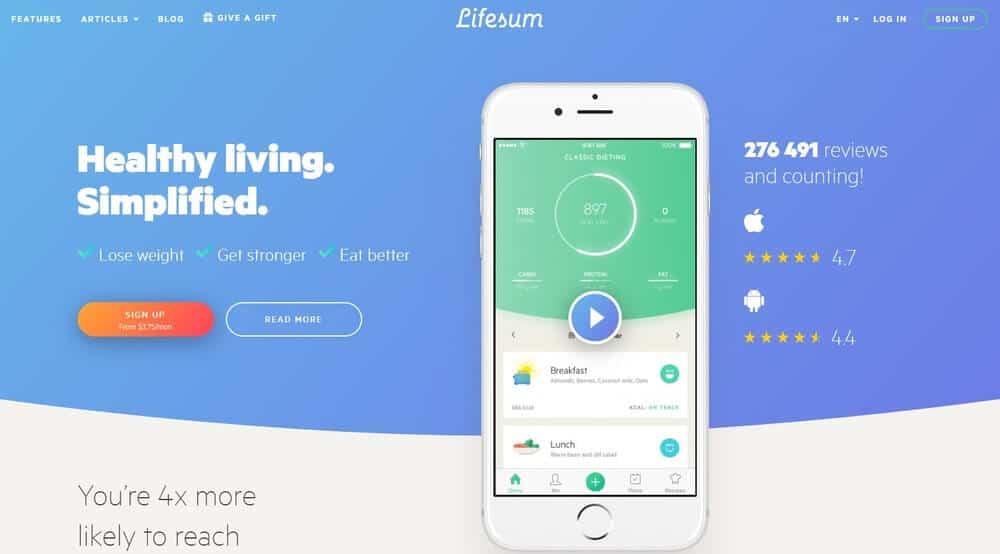 Screenshot of Lifesum app homepage.