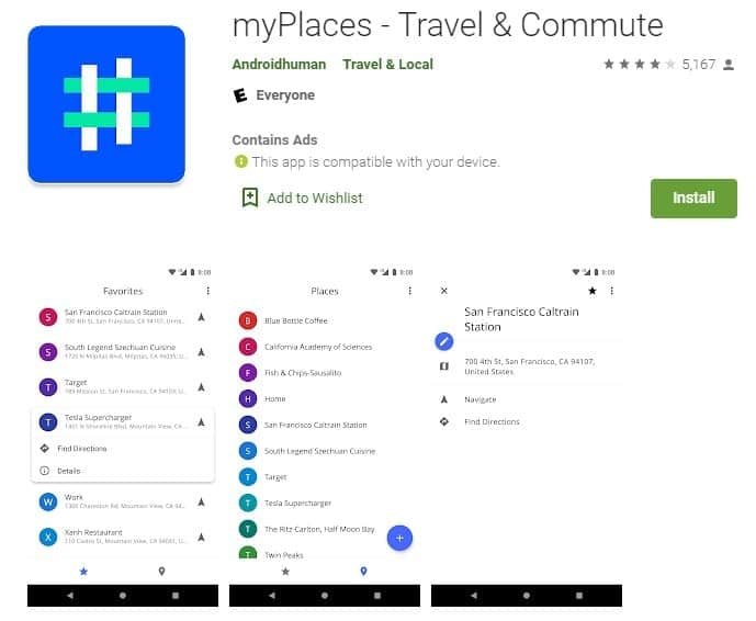 Screenshot of myPlaces.