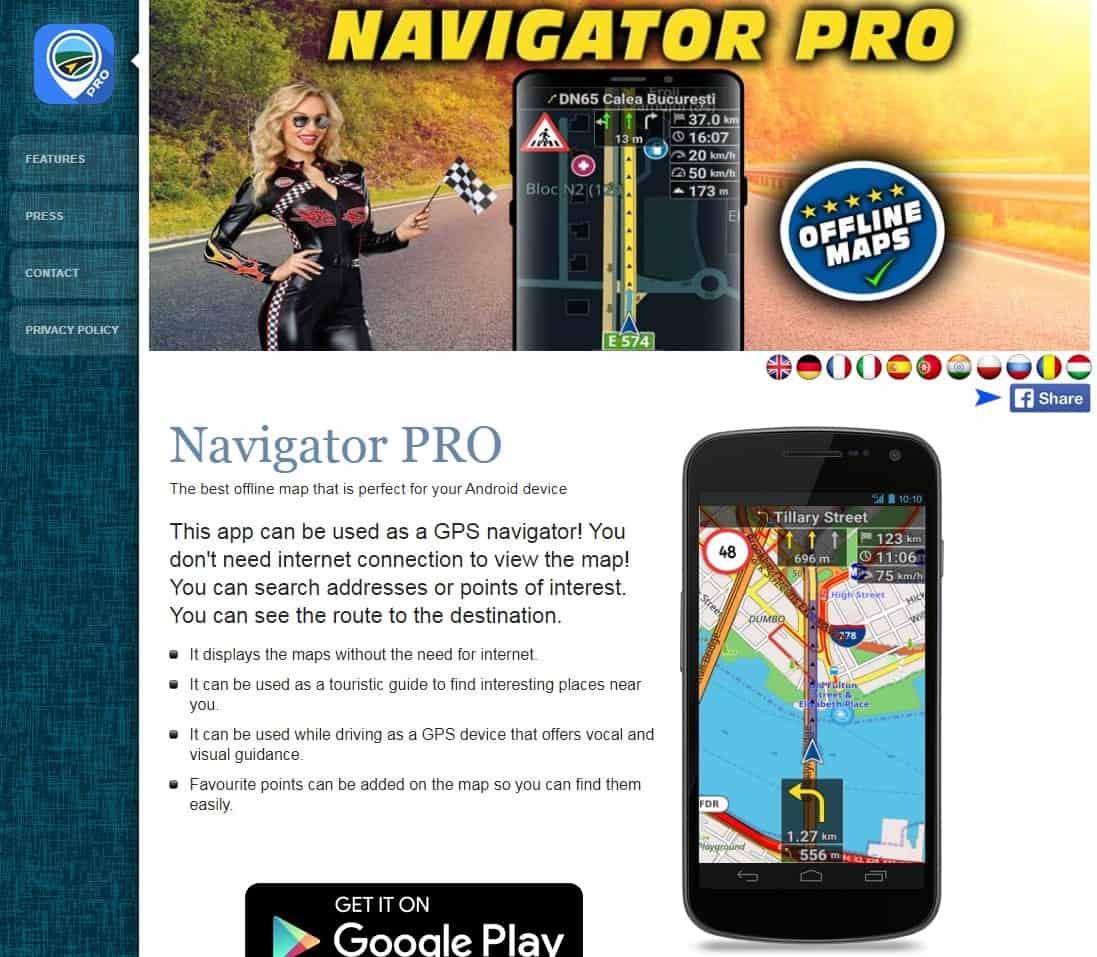 Screenshot of Navigator Standalone.