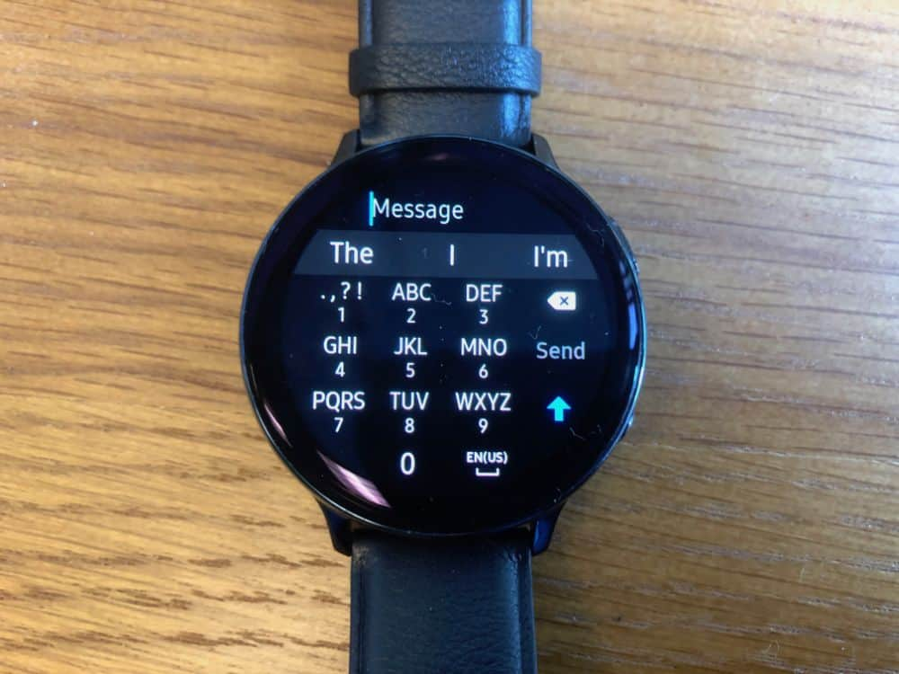 Keyboard for typing on the Samsung Galaxy Active2 Smartwatch