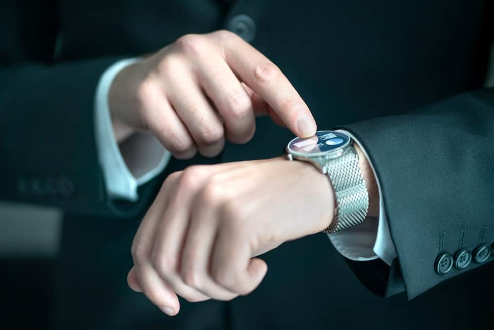 Businessman wearing a smartwatch.