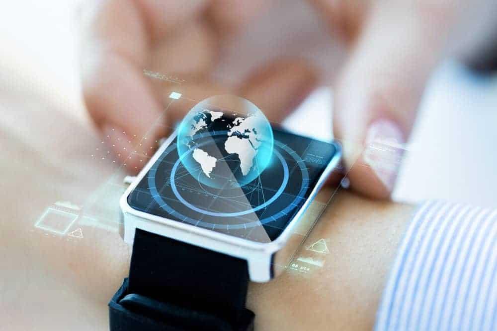 Globe hologram on a smartwatch.