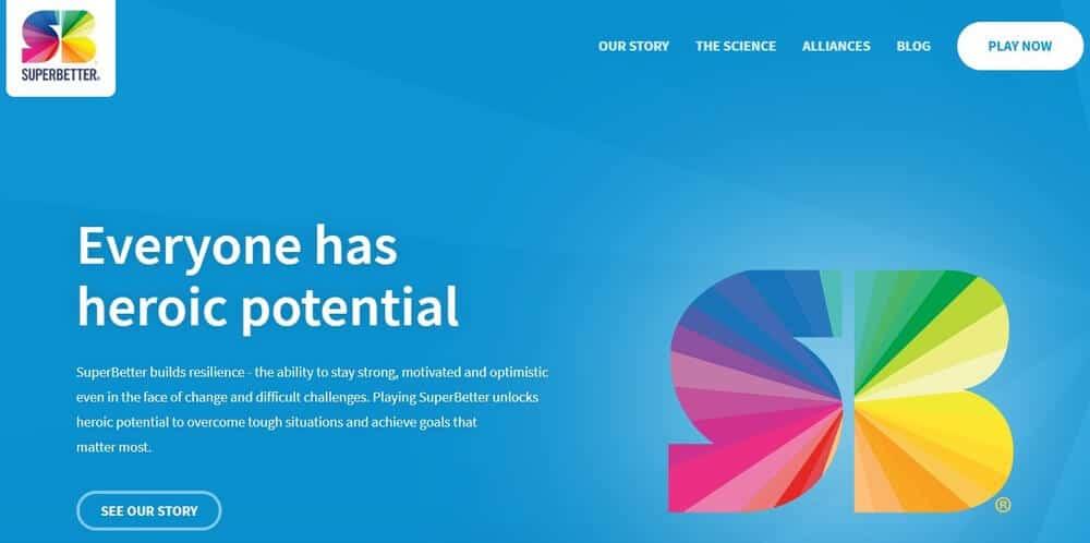 Screenshot of Super Better app homepage.