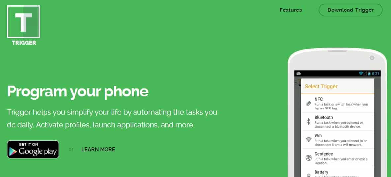 Screenshot of Triggers app homepage.