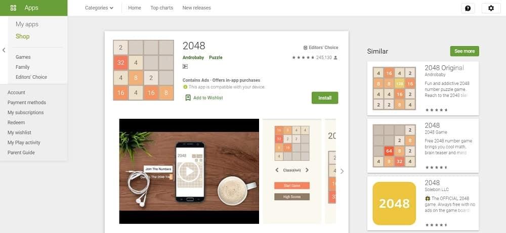 Screenshot of the 2048 app