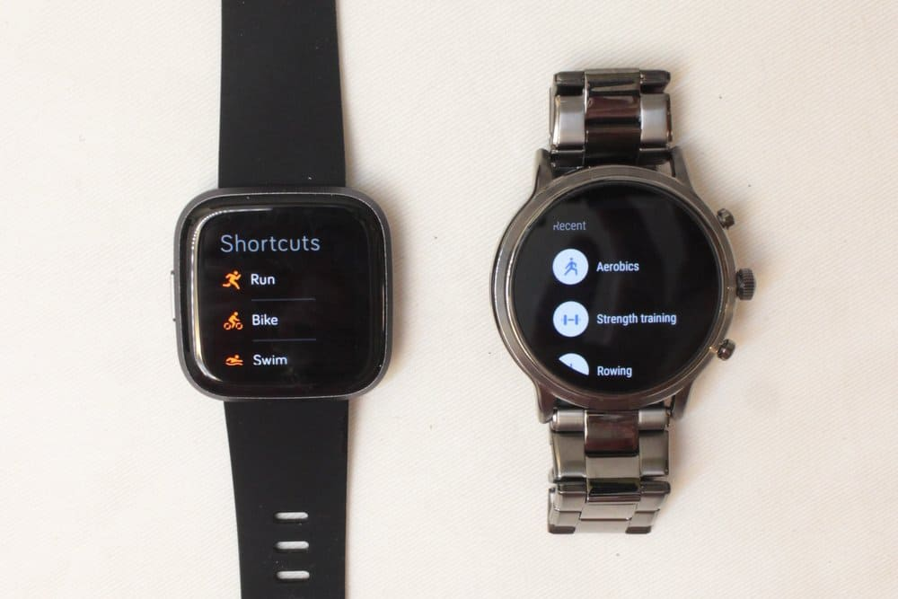 Fitbit Versa 2 vs Fossil Gen 5 Workout menu