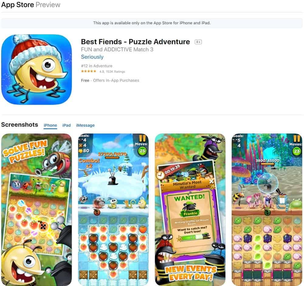 Screenshot of the Best Fiends app