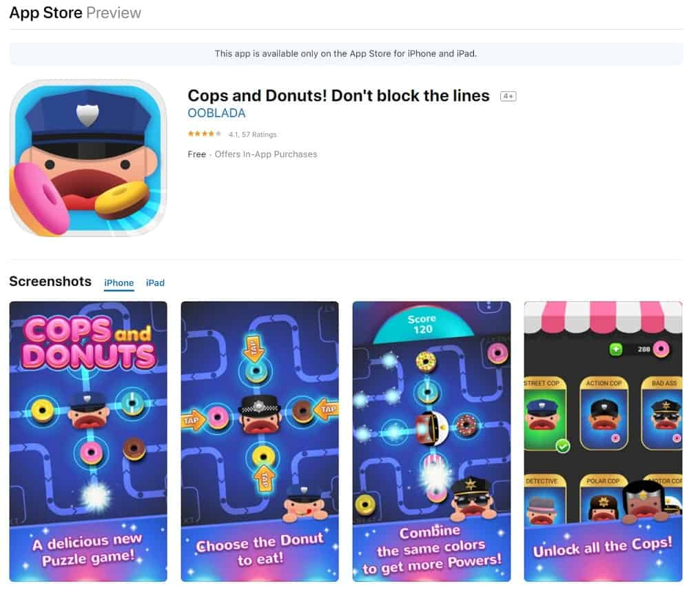 Screenshot of the Cops and Donuts