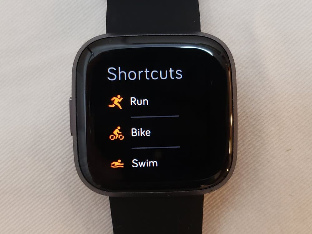 Fitbit Versa 2 exercise menu