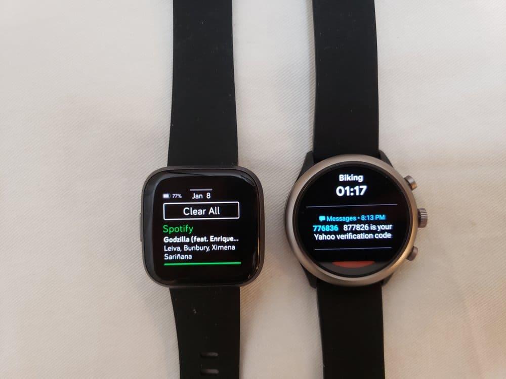 Versa 2 and Sport Smartwatch notification screens