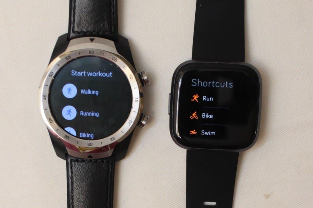 fitbit versa 2 vs ticwatch pro sports workout menu