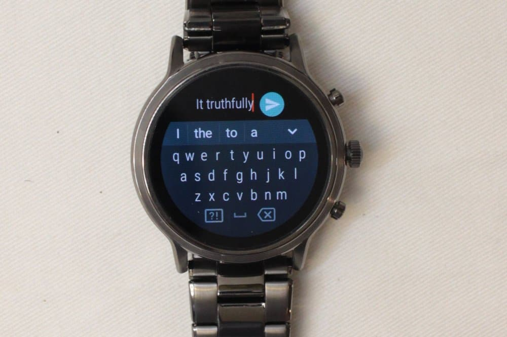 Fossil Gen 5 Carlyle keyboard replying to message