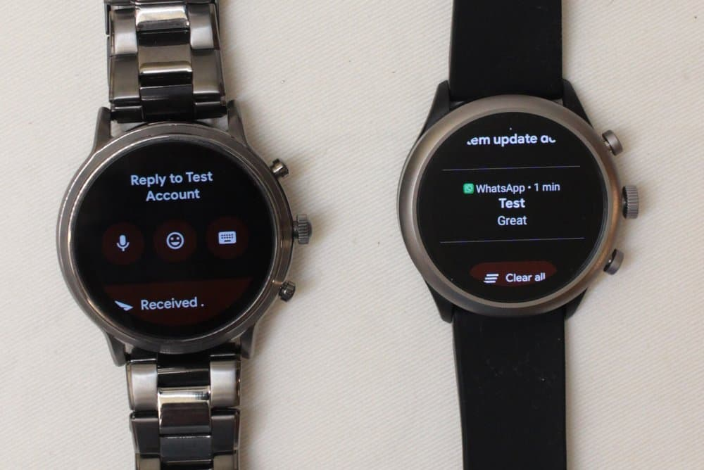 Fossil Gen 5 Carlyle vs Fossil Sport interacting with notifications