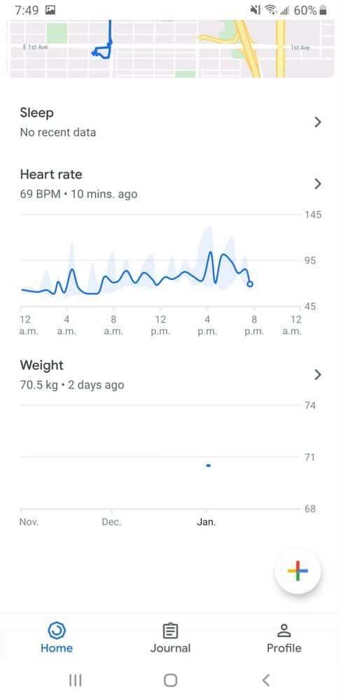 Google Fit smartphone app