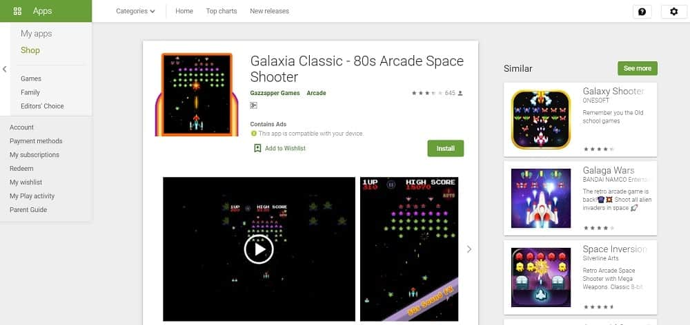 Screenshot of the Galaxia Classic app