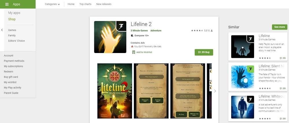 Screenshot of the Lifeline 2 app