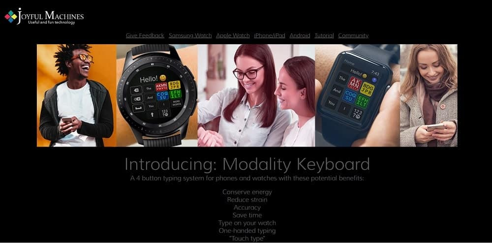 Modality homepage screenshot