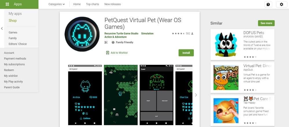 Screenshot of the PetQuest app