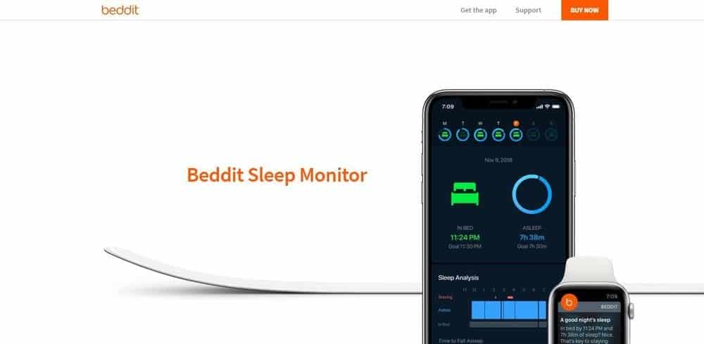Screenshot of the Beddit app.