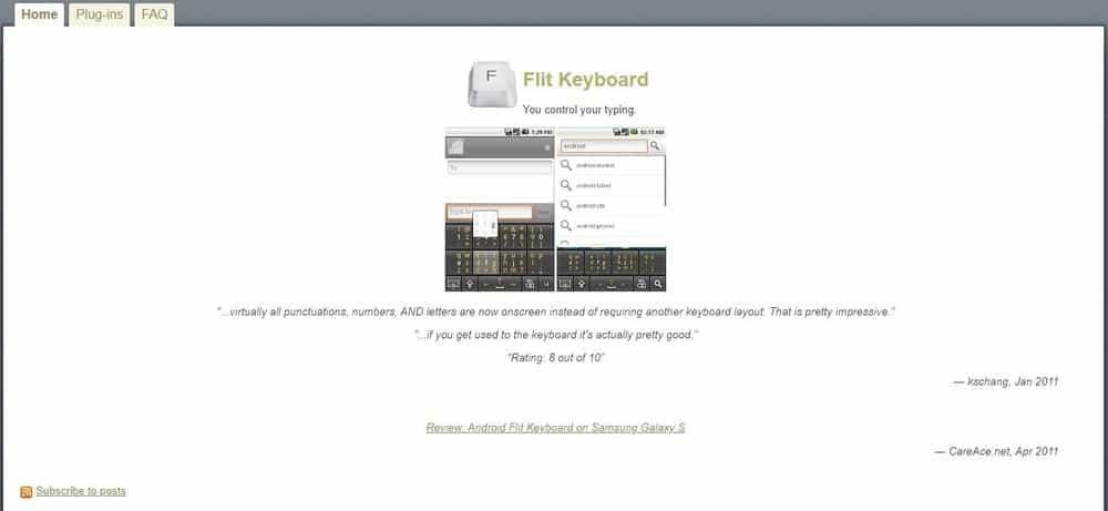 Screenshot of the Flit Keyboard App.