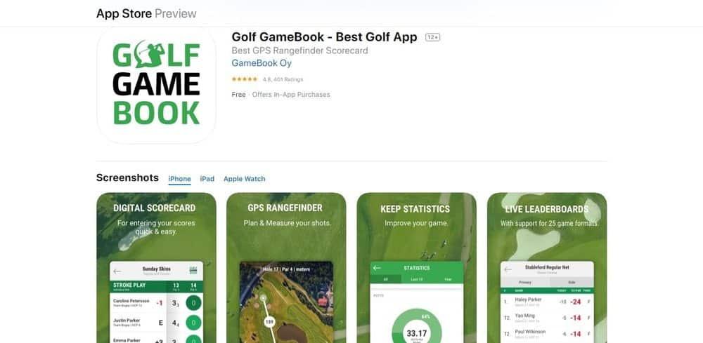 Screenshot of the Golf Gamebook Golf App Homepage.
