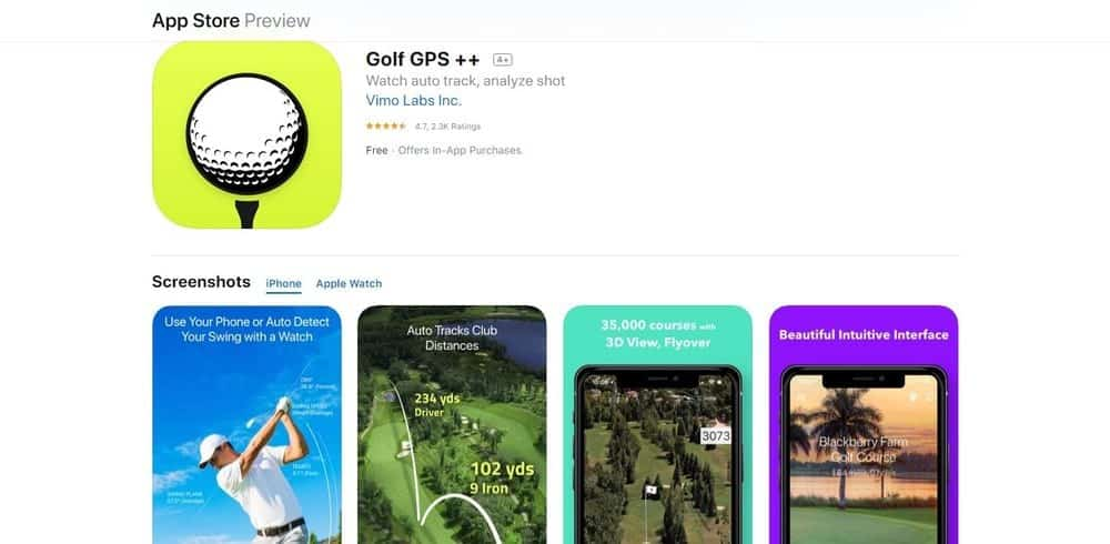 Screenshot of the Golf GPS++ Golf App Homepage.