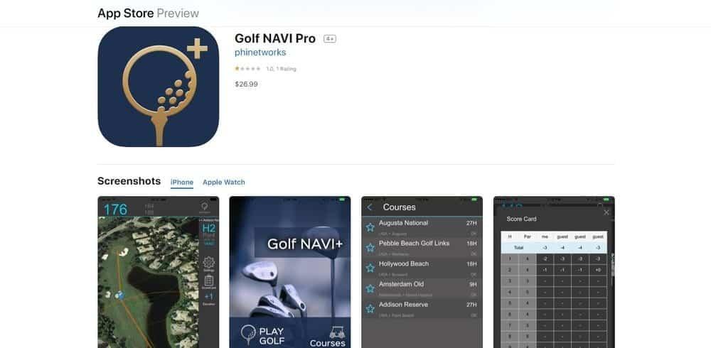 Screenshot of the Golf Navi Golf App Homepage.