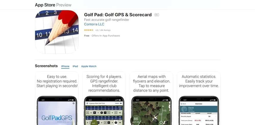 Screenshot of the Golf Pad GPS Golf App Homepage.