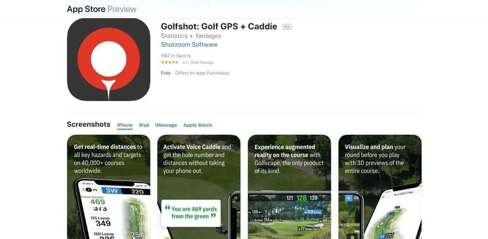 Screenshot of the Golfshot Golf App Homepage.