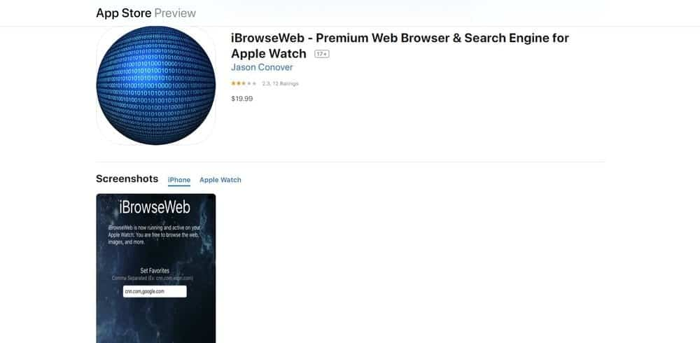 Screenshot of the iBrowseWeb Web Browser App Homepage.