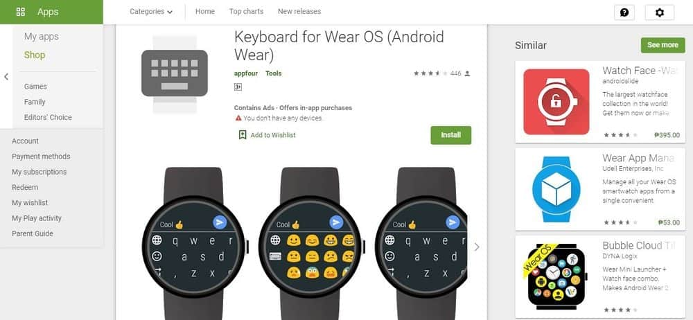Screenshot of Keyboard for WEAR OS App