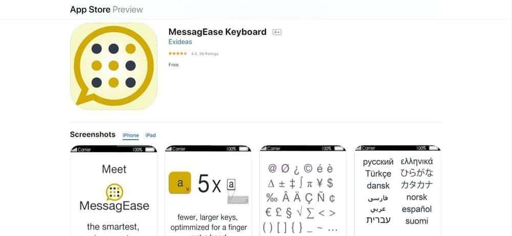 Screenshot of the MessagEase Keyboard App