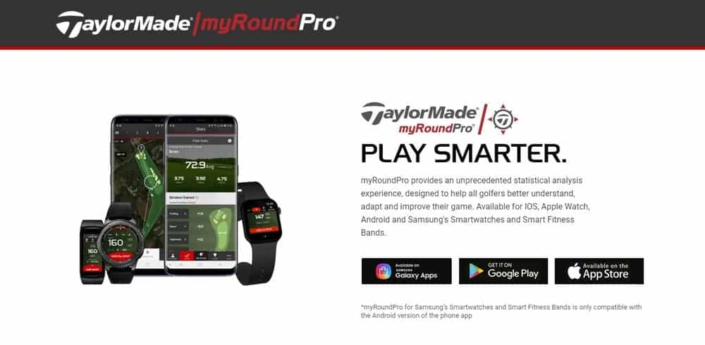 Screenshot of the myRoundPro Golf App Homepage.