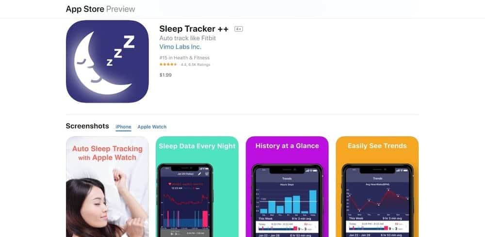 Screenshot of the Sleep Tracker app.
