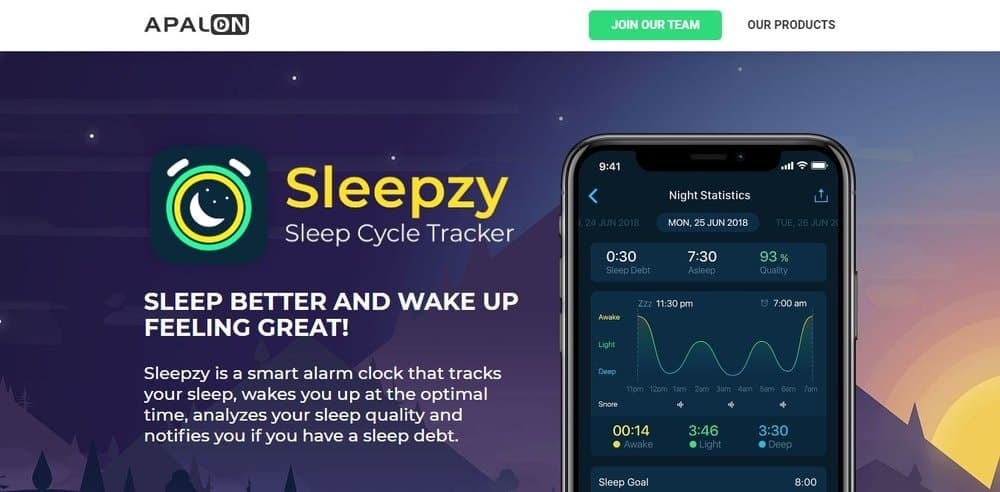 Screenshot of the Sleepzy app.