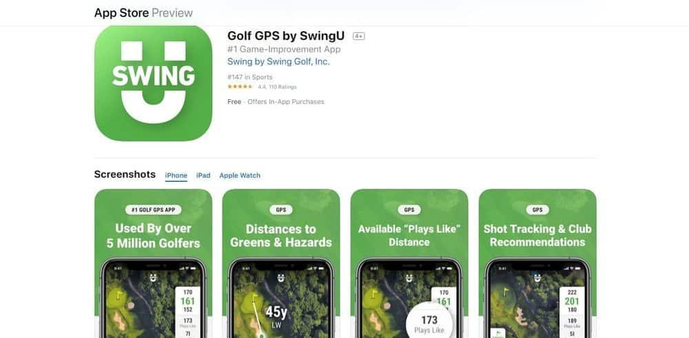 Screenshot of the Swing by Swing Golf App Homepage.