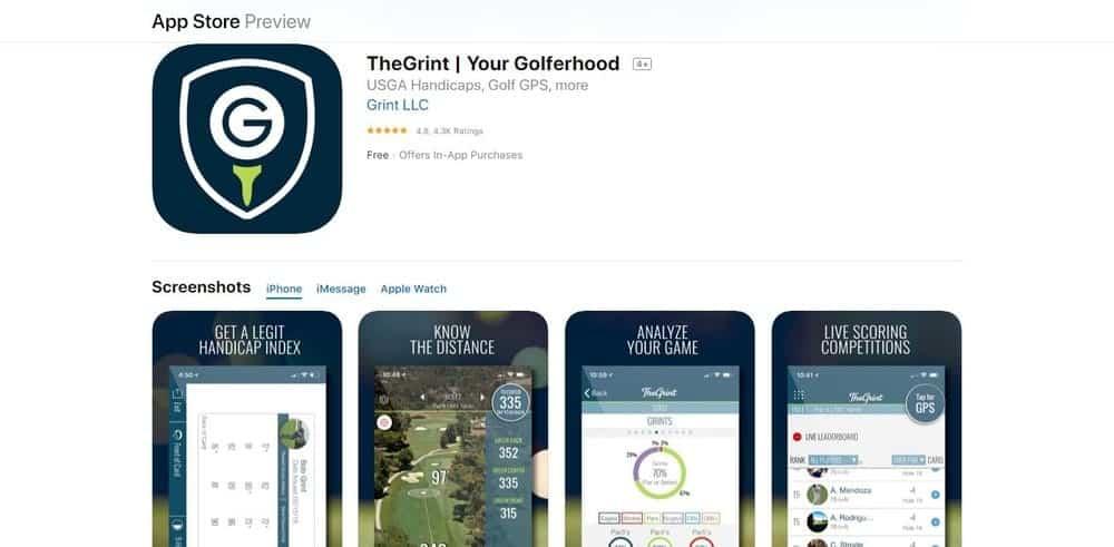 Screenshot of TheGrint Golf App Homepage.