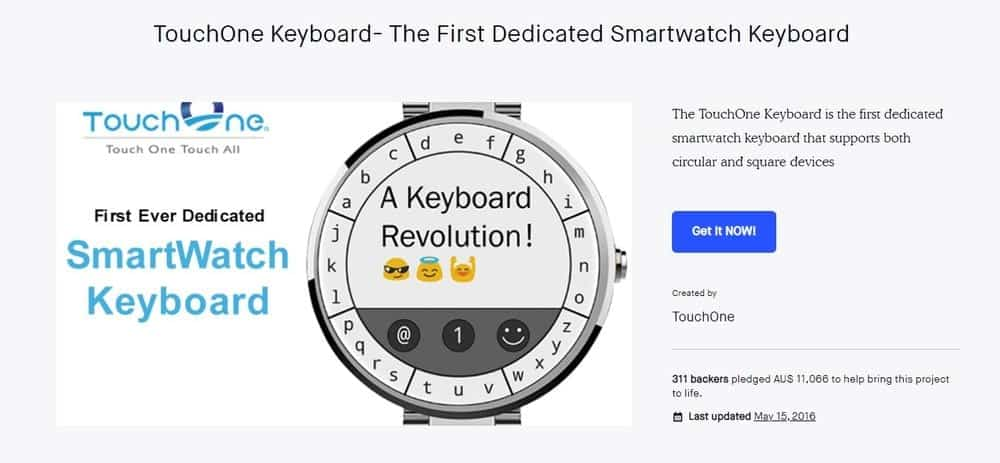 Screenshot of the Touch One Keyboard App Homepage