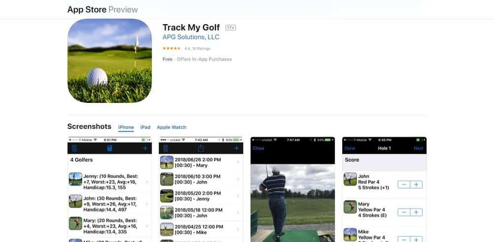Screenshot of the Track My Golf Golf App Homepage.