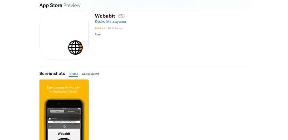 Screenshot of the Webabit Web Browser App Homepage.